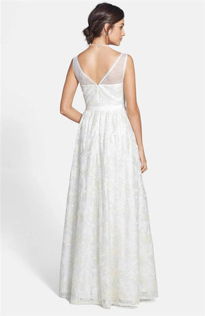 Adrianna Papell Sleeveless Illusion Sequin-lace Wedding Gown