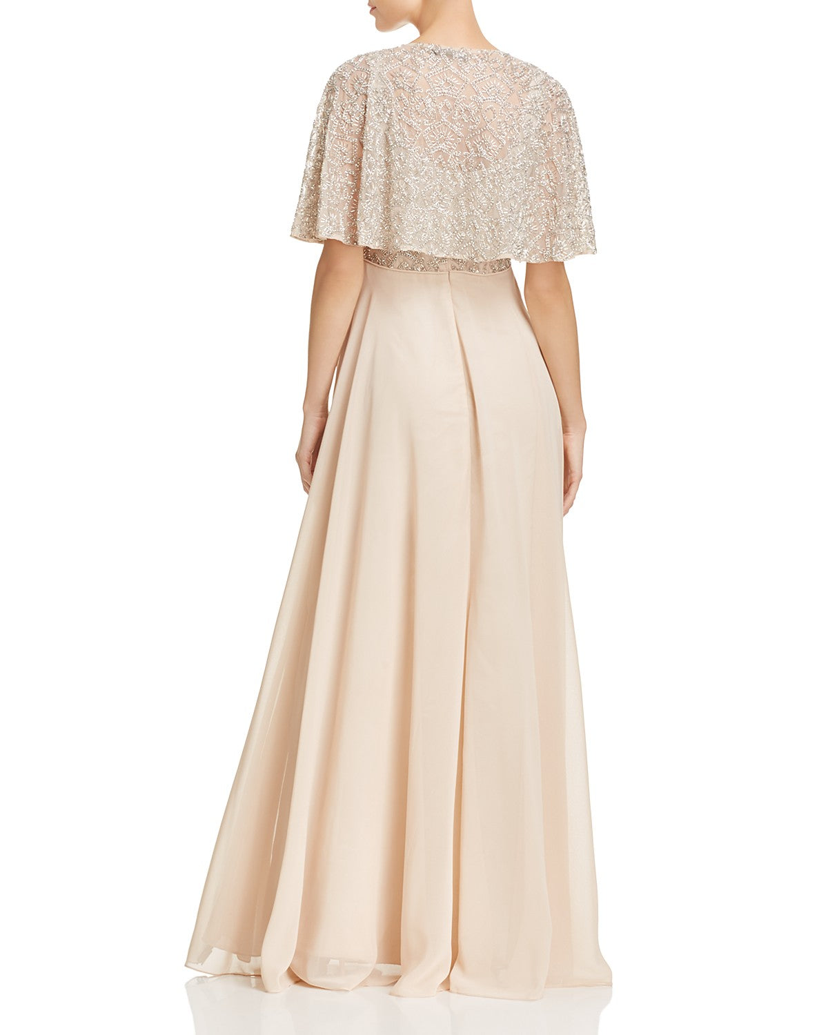 Aidan Mattox Tiered Beaded-Bodice Gown - Blush - Adinas Bridal