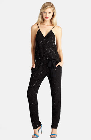Donna Morgan Sequin Wrap Formal Jumpsuit - Black