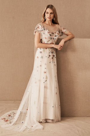 BHLDN Willowby Heartleaf Gown Ivory Multi - Defects