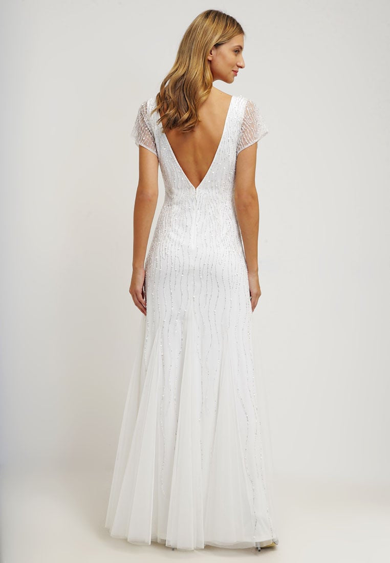 Adrianna Papell Ivory short sleeve fully beaded Gown - Adinas Bridal