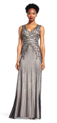 Adrianna Papell V-Neck Sleeveless Beaded Gown - Platinum