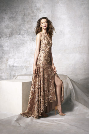 Aidan Mattox Sequin Embroidered Lace & Silk High-low Gown - Golden Brown