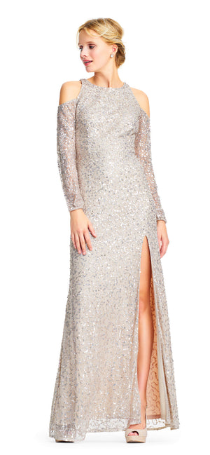 Adrianna Papell Cold Shoulder Long Sleeve Gown - Nude