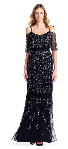 Adrianna Papell Beaded Cold Shoulder Gown - Black