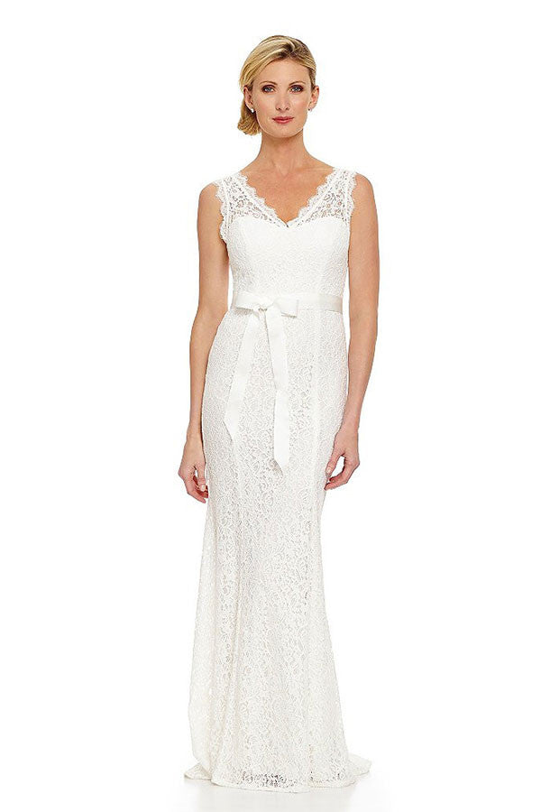 Adrianna Papell Ivory V Neck Lace Wedding Gown