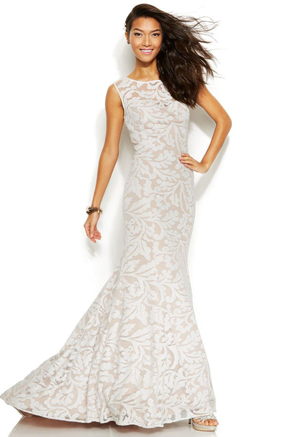 Adrianna Papell White Sleeveless Embroidered Lace Mermaid Wedding