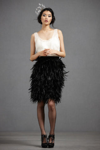 BHLDN Frolicking Feathers Skirt - Black