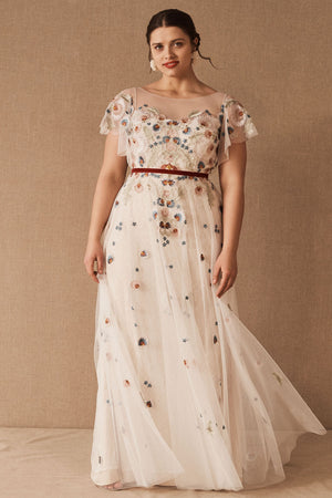 BHLDN Willowby Heartleaf Gown - Ivory Multi