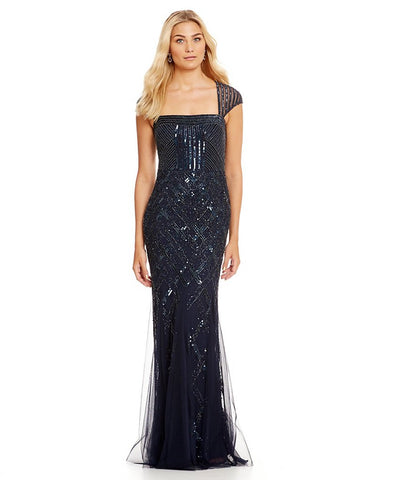 Adrianna Papell Cap Sleeve Beaded Gown - Midnight