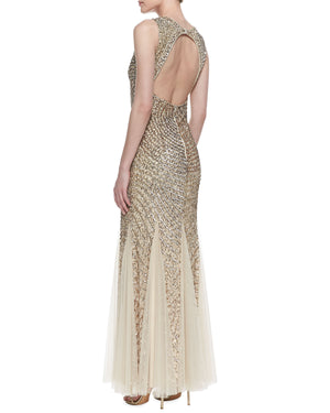 Aidan Mattox Metallic Sequin Beaded Godet Gown - Light Gold