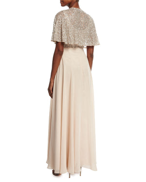 Aidan Mattox Tiered Beaded-Bodice Gown - Blush