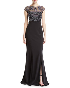 Aidan Mattox Cap-Sleeve Pearly Beaded-Bodice Gown - Black