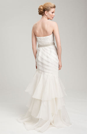Theia Strapless Silk Organza Mermaid Wedding Gown - White