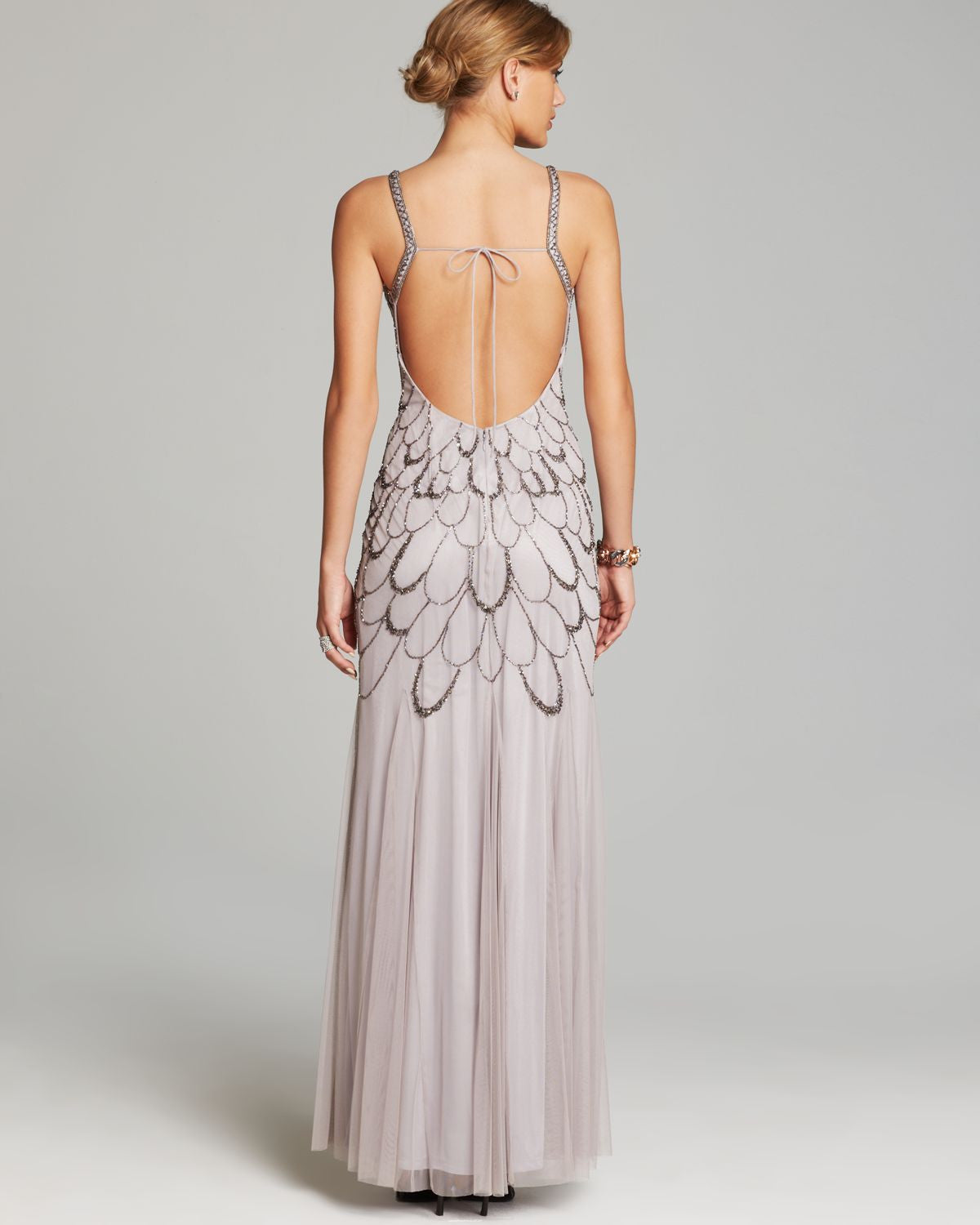 Adrianna Papell Beaded Backless Mesh Art Deco Gown Heather Grey