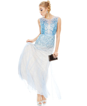 Adrianna Papell Sky Blue Beaded Gown