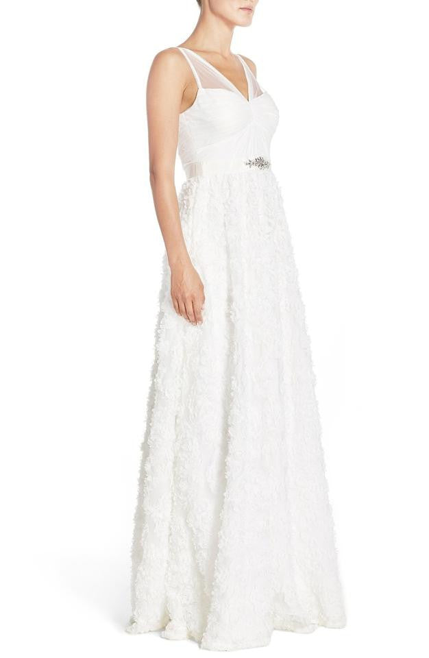 Adrianna Papell Ivory Tulle Rosette Embellished Chiffon Wedding Gown ...