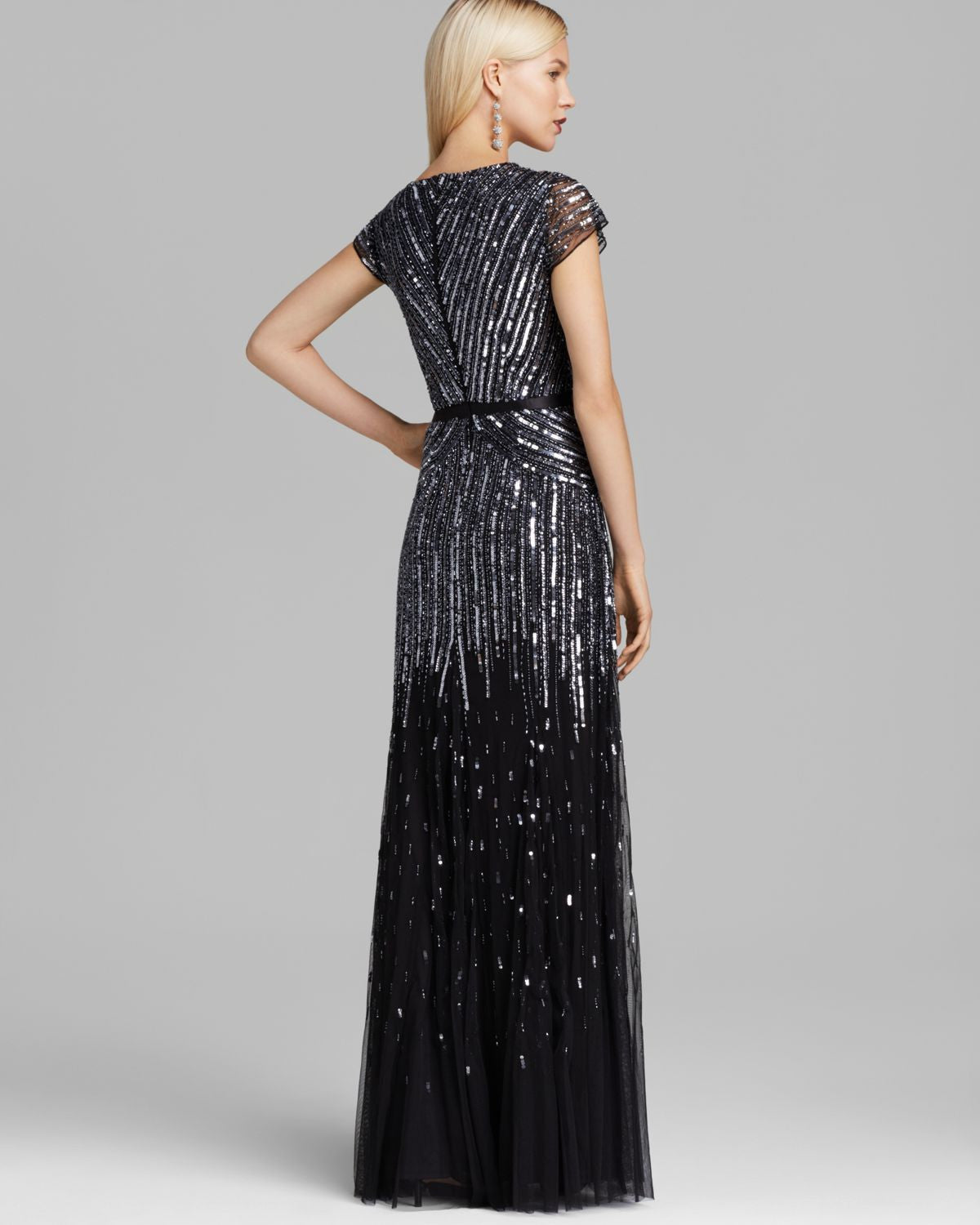 Adrianna Papell Beaded V-neck Gown - Gunmetal