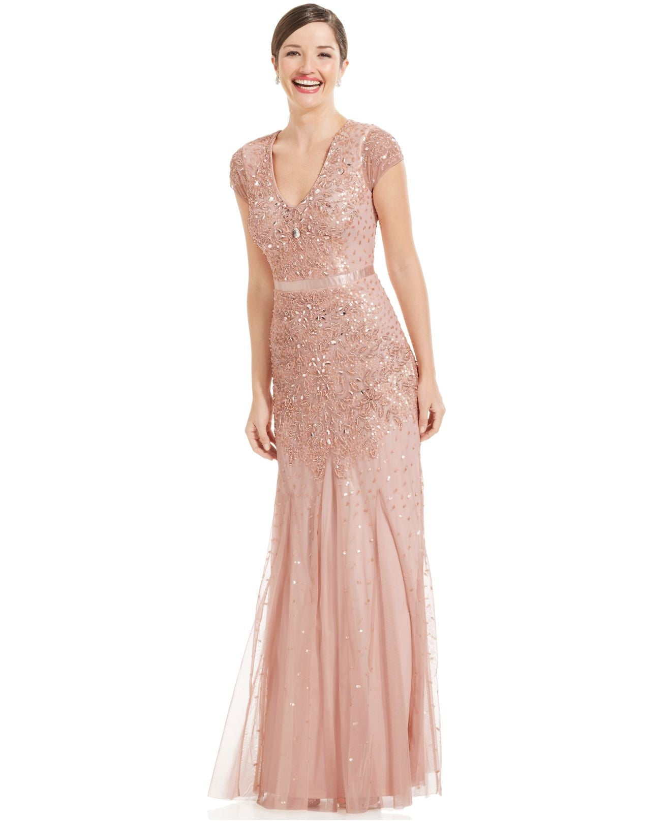 Adrianna Papell Cap-sleeve Beaded Embellished Gown - Blush