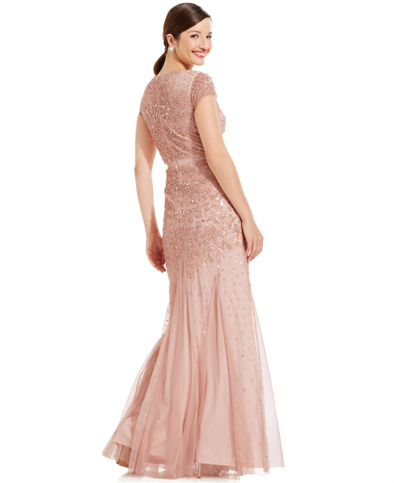 Adrianna Papell Cap-sleeve Beaded Embellished Gown - Blush - Adinas ...