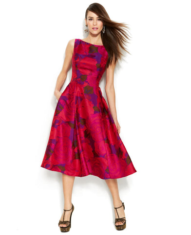 Adrianna Papell Floral Midi Jacquard Dress - Magenta