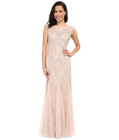 Adrianna Papell Long Beaded Gown with Godets -  Shell Blush Pink