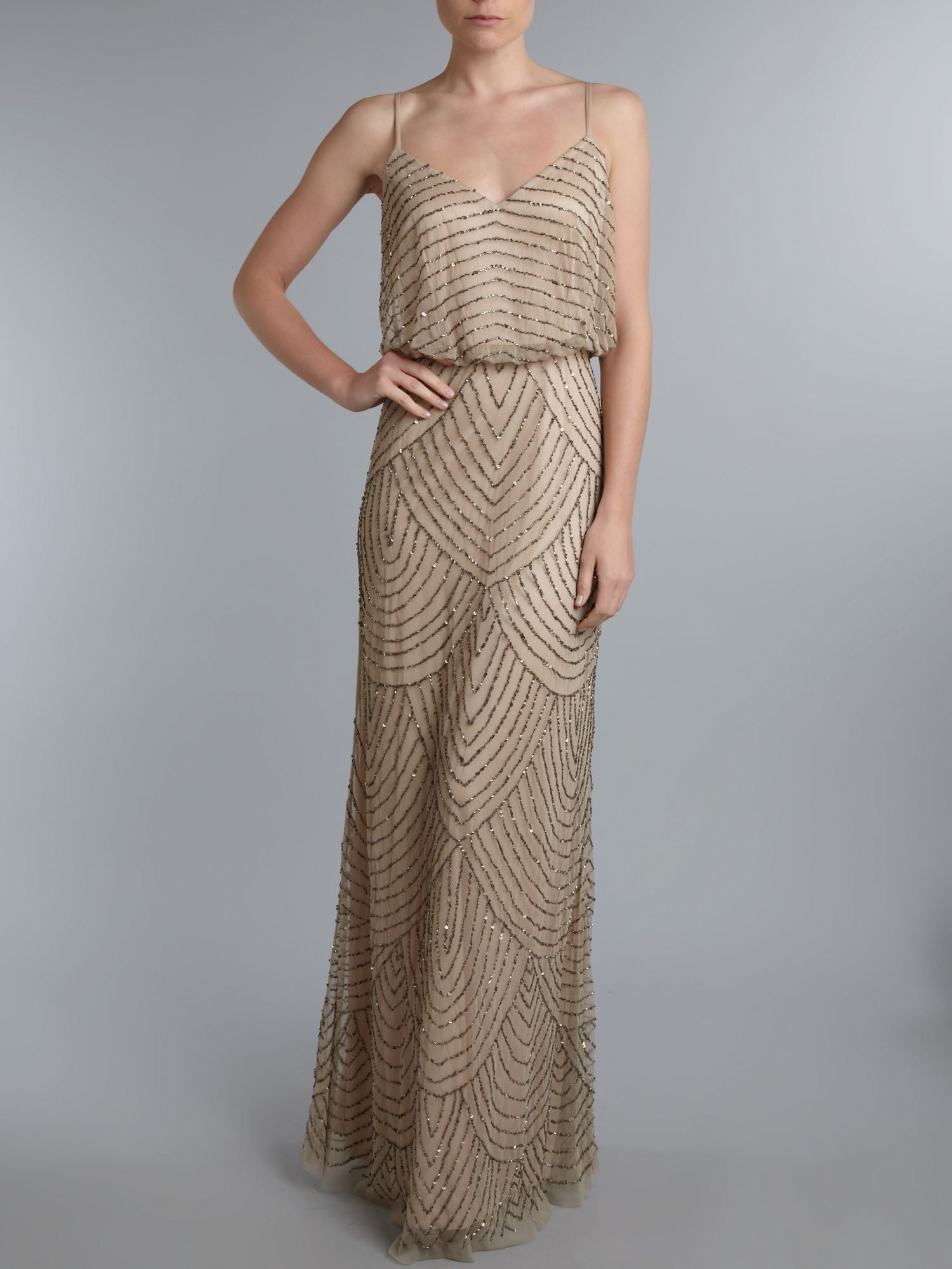 Adrianna Papell Art Deco Beaded Blouson Gown - Taupe/ Pink - Adinas ...