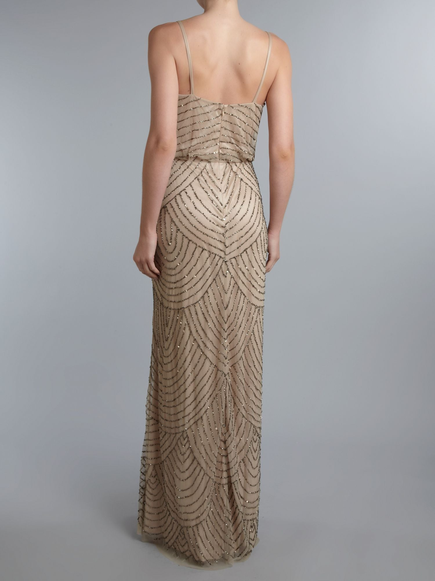 27d6ed714e0d Adrianna Papell Art Deco Beaded Blouson Gown - Taupe  Pink - Adinas ...