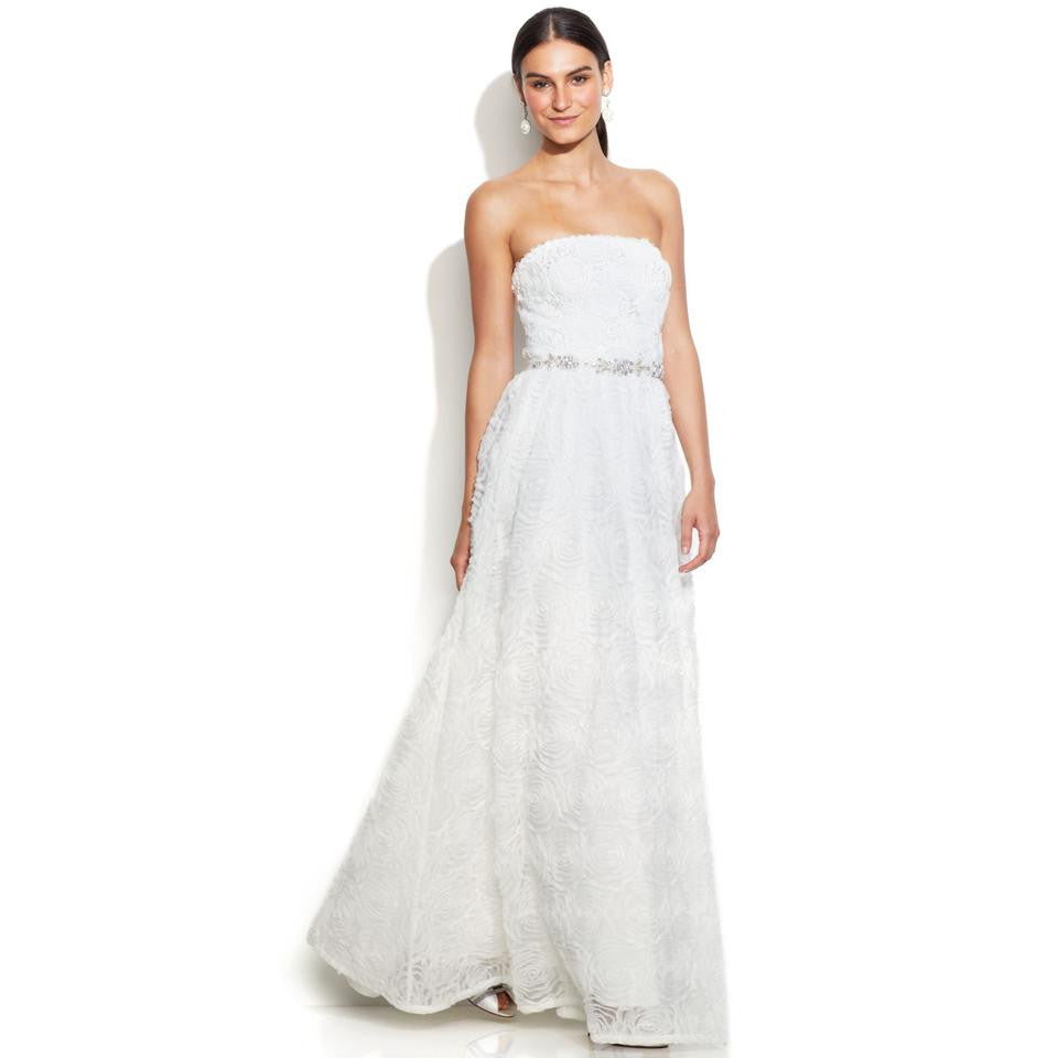 Adrianna Papell Strapless Tulle Rosette Ball Gown - Ivory - Adinas ...