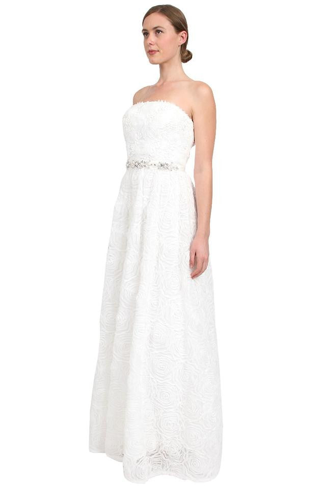 Adrianna Papell Strapless Tulle Rosette Ball Gown - Ivory