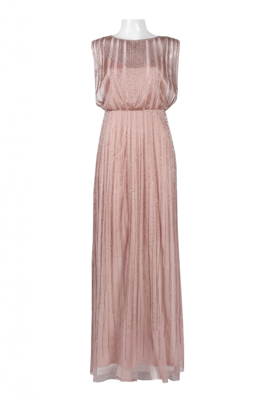 Adrianna Papell Beaded Mesh Blouson Gown - Rose Gold - Adinas Bridal