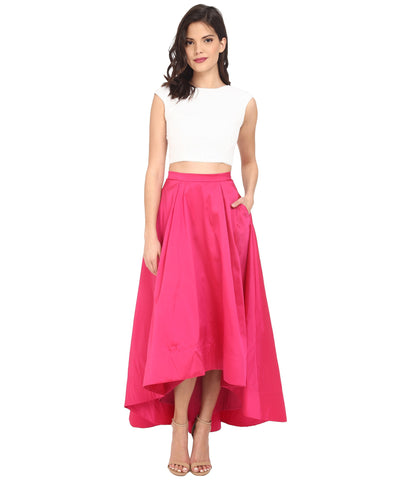 Aidan Mattox Cap Sleeve Sequin Top With Taffeta A Line High-low Skirt - Ivory & Fuchsia