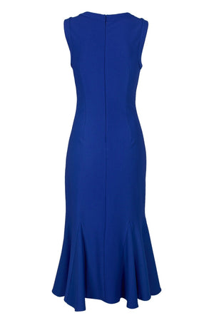 Adrianna Papell Daphne Ribbed Godet Dress - Gulf Blue