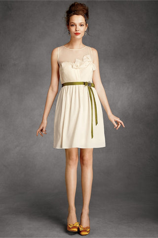 BHLDN Origami Pleated Dress - Cream