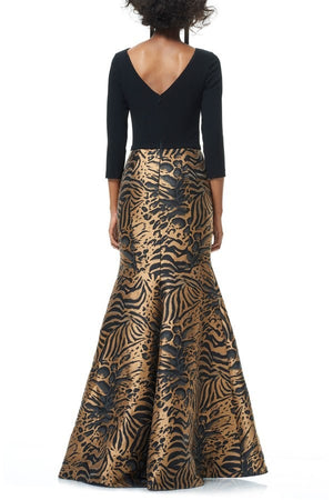 Theia 3/4 Sleeve Mermaid Gown Dress - Black Amber