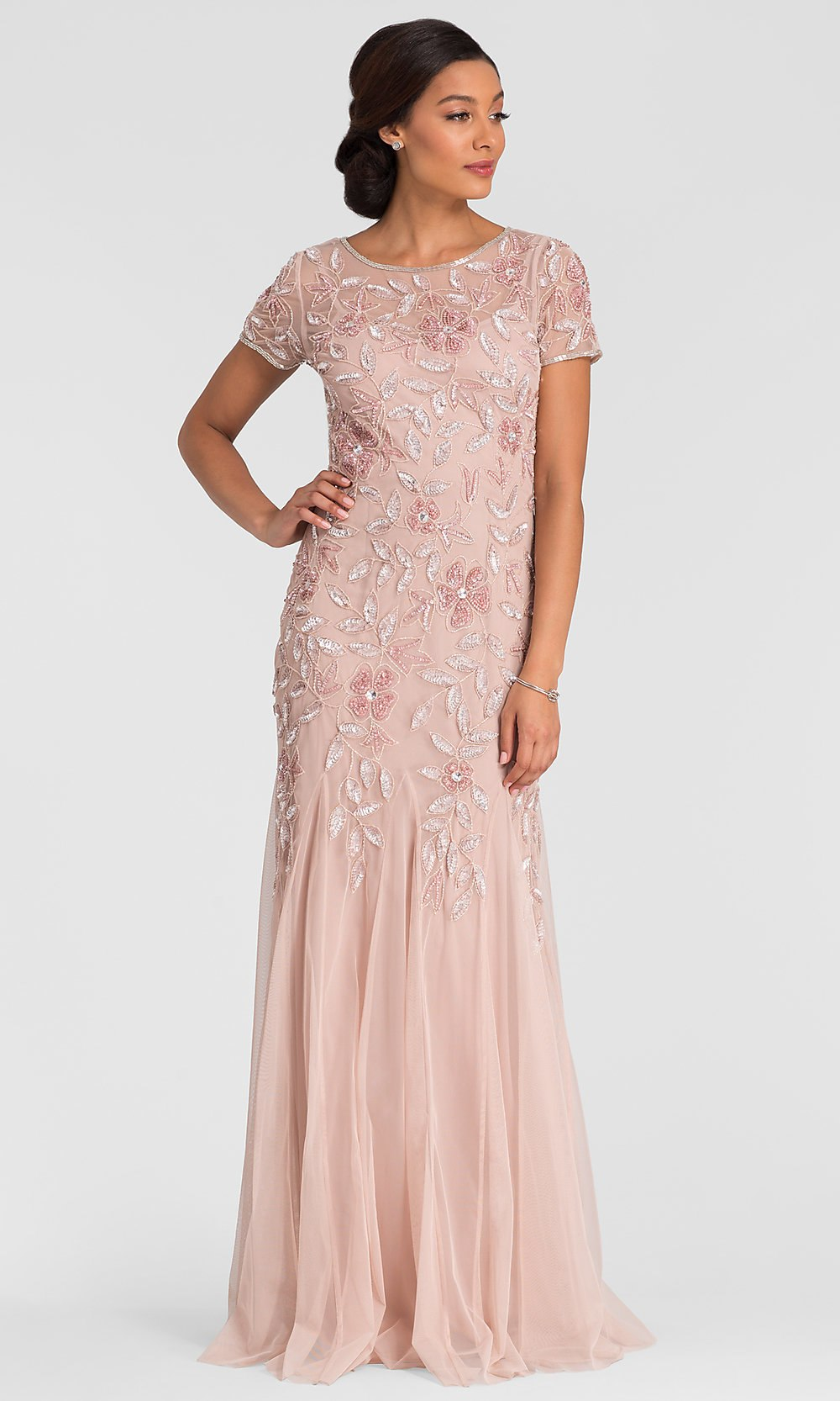 Adrianna Papell Floral Beaded Godet Gown - Blush Pink