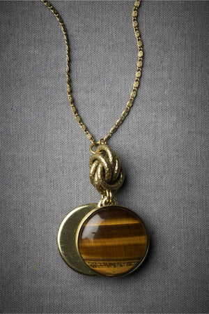 Paired Pendant Neckalce Tiger's Eye