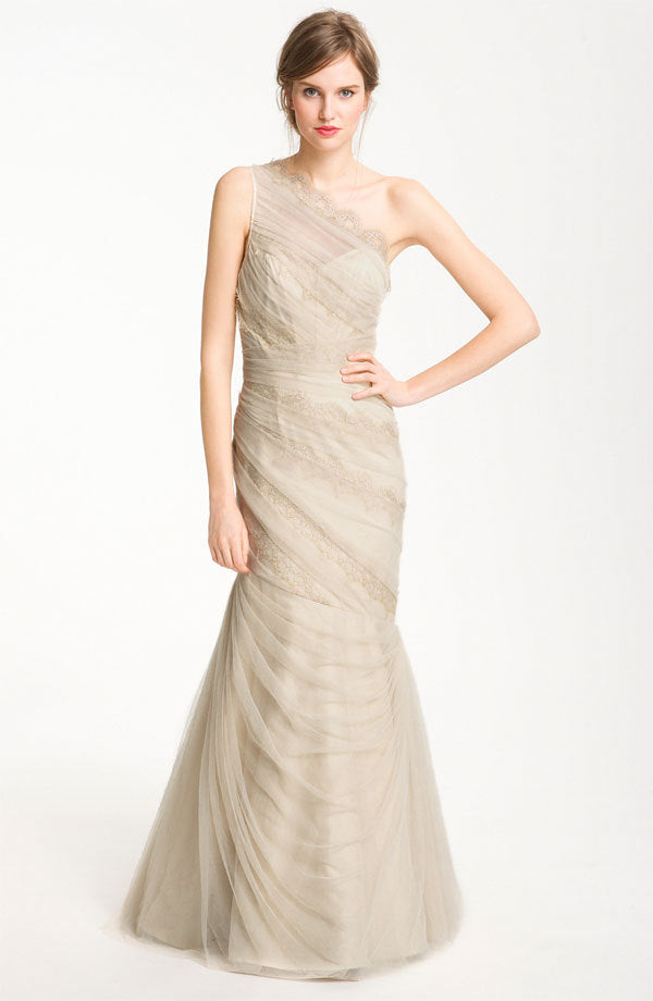 ML Monique Lhuillier One Tulle & Lace Overlay Gown - Champagne ...