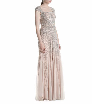 Adrianna Papell Cap Sleeve Envelope Embellished Mesh Gown - Shell Blush Pink