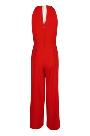 Donna Ricco Sleeveless Halter Jumpsuit - Red