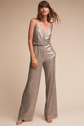 BHLDN Aidan Mattox La Lune Sequin Jumpsuit - Silver Copper