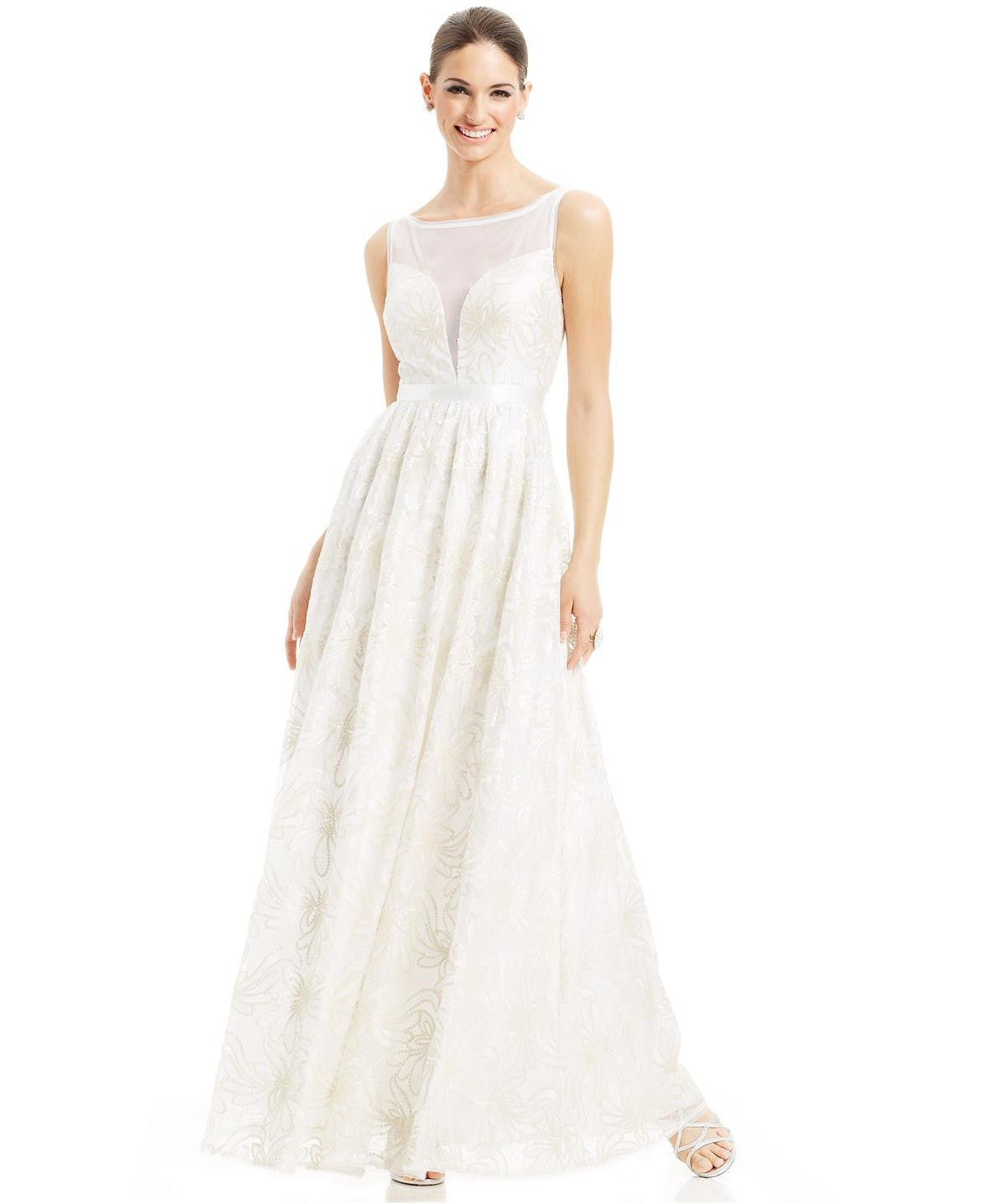 Adrianna Papell Sleeveless Illusion Sequin Lace Wedding Gown