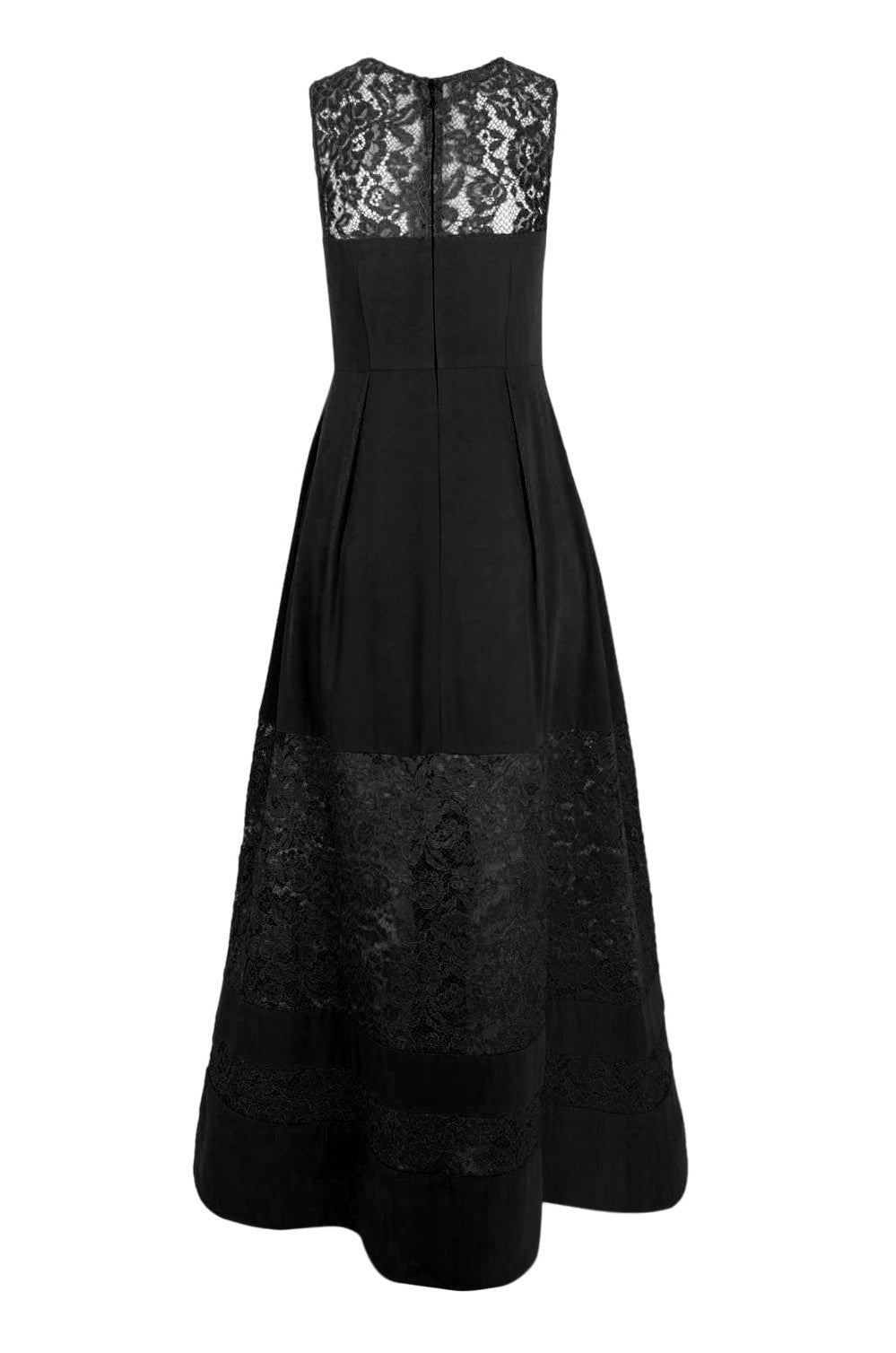 Aidan Mattox Lace Inset Crepe Gown -  Black