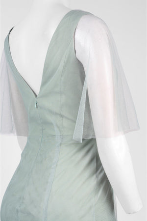 Monique Lhuillier Sheer Capelet V-Neck Tulle A-Line Gown - Sage