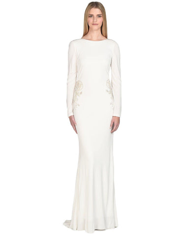 Badgley Mischka Long Sleeve Draped Embellished Gown