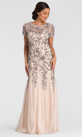 Adrianna Papell Floral Beaded Godet Gown - Taupe Pink