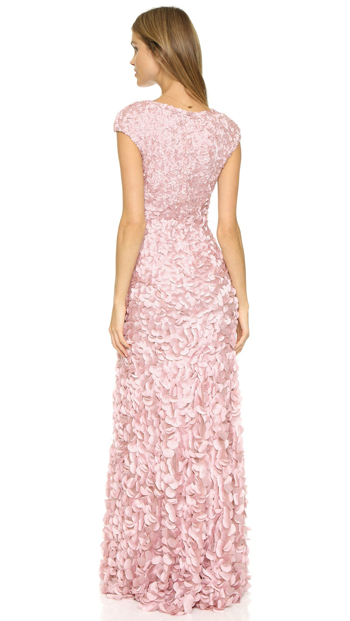 Theia V-Neck Flutter Sleeve Petal Gown - Pink