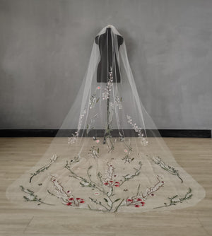 Wildflower Embroidered Veil