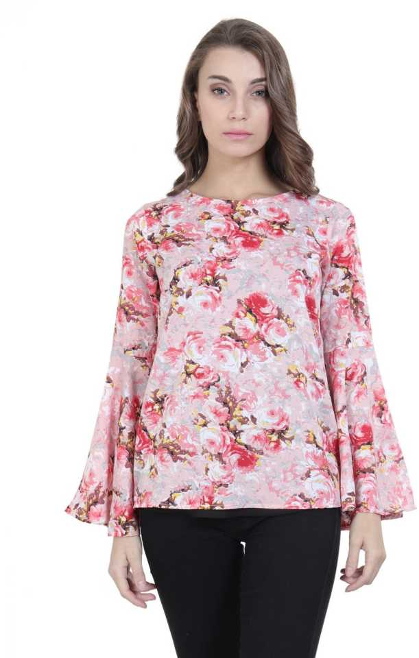 VSkin Casual Flared Sleeve Floral Print Women Multicolor Top