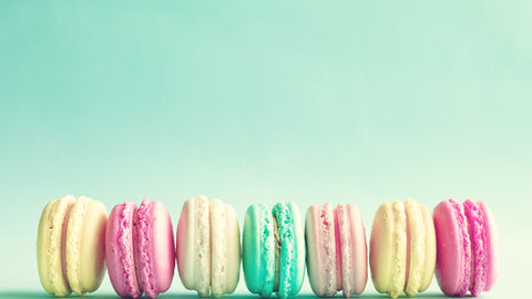 colorful macaroons taken from a low angle